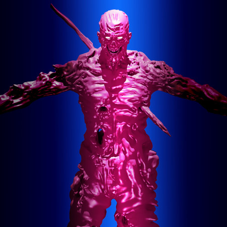 An immortal demon pierced by an iron rod stands. 3D illustration in genre of horror. Scary character face on blue background.