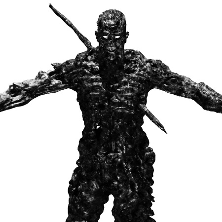A terrible zombie monster stands with arms outstretched. 3D illustration in genre of horror. Scary character in black a