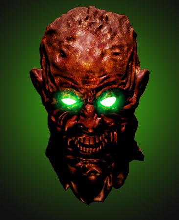 Red head of the shouting monster. 3D illustration in genre of horror. Scary character face on green background. Reklamní fotografie