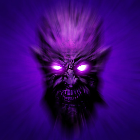 Creepy zombie face cover. Lilac head blurred from speed. 3D illustration in genre of horror.