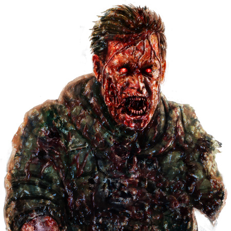 Angry zombie soldier shout concept. Drawing character illustration in horror genre. Scary face picture. White color background.