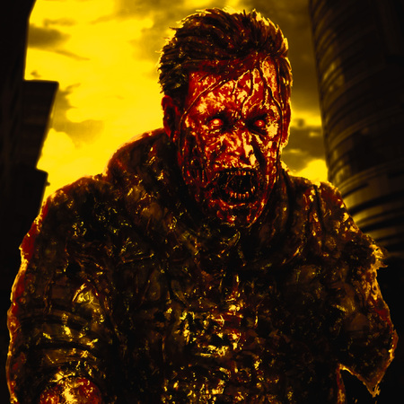Zombie soldier shout. Drawing illustration in horror genre. Creepy character concept. Scary face picture. Yellow color background.