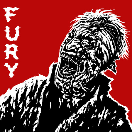 Zombies with broken head looking up and screaming with his mouth open. Vector illustration on red background. Freehand digital drawing concept. Genre of horror.