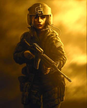 Woman soldier in a helmet and with assault rifle in their hands. Drawing illustration in the genre of war on orange background. Zombie apocalypse.