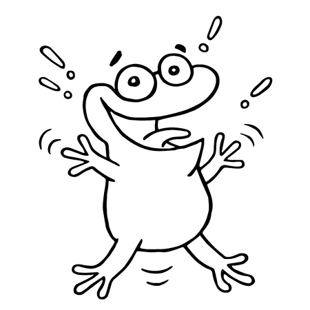 Cartoon lucky frog. Vector illustration. Funny cute cheerful character.