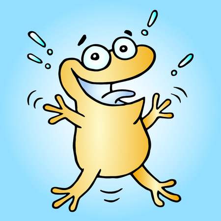 Happy greeting orange frog. Vector illustration. Cute cartoon character.
