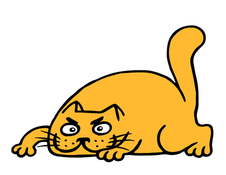 Cute cartoon orange cat preys. Vector illustration. Isolated animal cheerful pet.