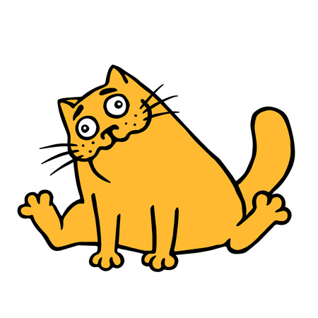 The cat drank valerian and sits happy. Vector illustration. Orange color cute character.