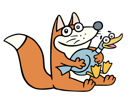 Cute happy fox and a frightened fat duck. Vector illustration. Cartoon happy character. Illustration