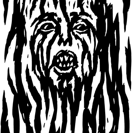 Screaming demon with bleeding womans face. Vector illustration. Genre of horror. Scary character head for halloween.
