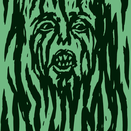 A monster with a womans face growing out of a tree. Vector illustration. Genre of horror. Scary character head for halloween.