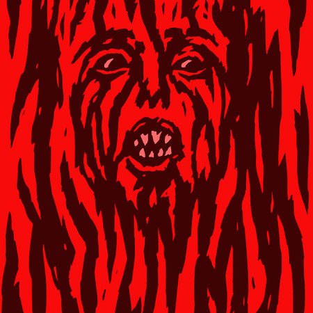 Furious red demon woman is bleeding. Vector illustration. Allegorical form. Genre of horror. Terrible character head for halloween. Illustration
