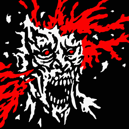 Exploded zombie head with splashes of blood and skull splinters. Vector illustration. Genre of horror. Scary character for Halloween.