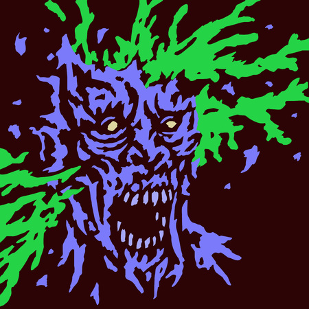 cleft: Zombie brains explode. Vector illustration. Genre of horror. Terrible character for Halloween. Illustration