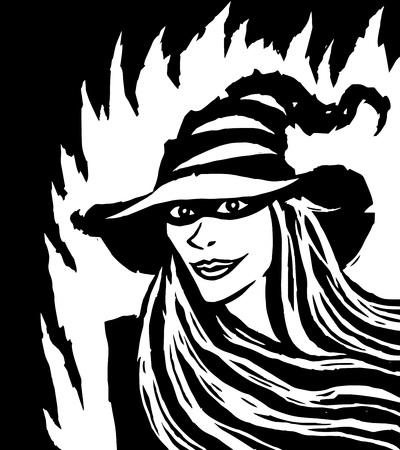 Cartoon pretty black witch. Vector illustration. White background.