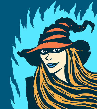 Cute redhead witch. Vector illustration. Blue background. Ilustrace