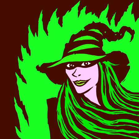Cartoon pretty witch. Vector illustration. Funny magical character. Green background.