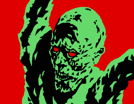 cleft: Green angry zombie attacks. Vector illustration. Genre of horror. Scary character for Halloween. Illustration
