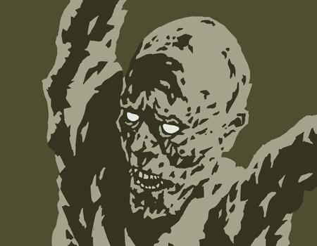 Scary demon attacks. Vector illustration. Genre of horror. Danger character for Halloween.
