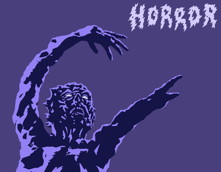 watching horror: Scary monster reach out. Vector illustration. Genre of horror. Nightmare character concept.