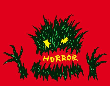 Evil red horror monster. The horror genre. Scary halloween character. Vector illustration.