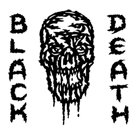 The skull is bleeding. Black death. Vector illustration. Genre of horror. Scary character head Illustration