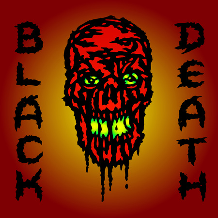 Red skull is bleeding. Black death. Vector illustration. Genre of horror. Scary character head.