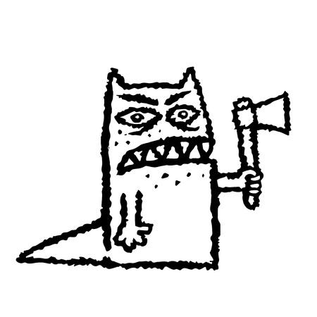 手に斧で面白い出っ歯モンスター。ベクトルの図。ホラーのジャンル。邪悪な目怖い文字。  イラスト・ベクター素材