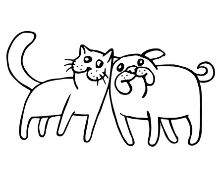 Funny cat and dog. Isolated vector illustration. Together forever. Best friends cartoon characters.