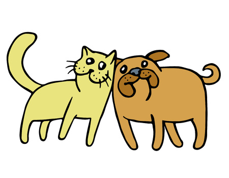 Friendship of a cat and a dog. Cartoon picture fur animals. Kind emotions. Holidays couples. Together forever. Best friends. Vector illustration.