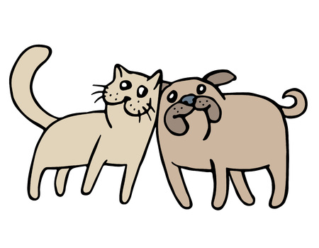 Cute cat and dog friendship. Vector illustration. Together forever. Cartoon best friends.