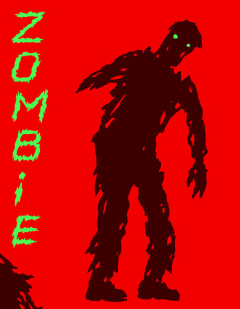 One-armed zombie silhouette in leaky clothes. Vector illustration. Scary character design. The horror genre. Red color background.