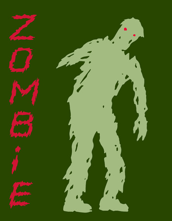 Concept one-armed silhouette of zombie. Vector illustration. Scary character design. The horror genre. Green color background. Illustration