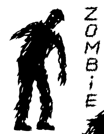 One-armed black zombie silhouette in leaky clothes. Vector illustration. Scary character design. The horror genre. Illustration