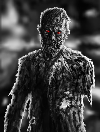 Zombie businessman drawing. Illustration on theme of apocalypse. Character concept. Genre of horror. Scary face picture.