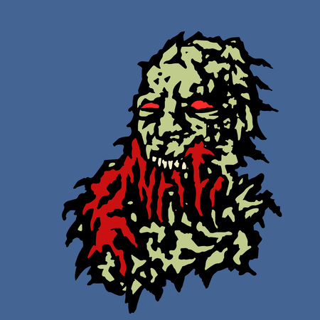 Scary head of zombie with red blood flowing from the mouth. Vector illustration. Genre of horror.