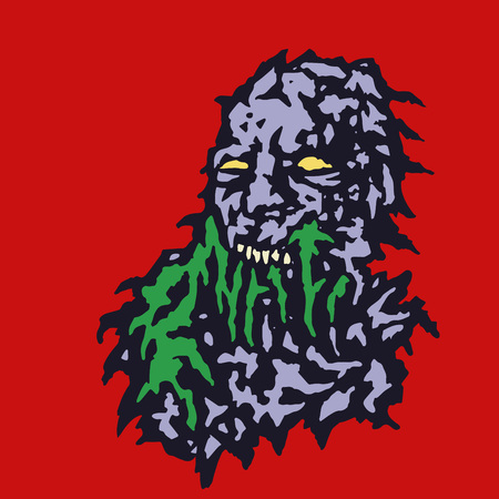 Scary head of zombie with bleeding from the mouth of green mucus. Vector illustration. Genre of horror.