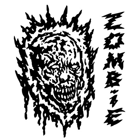 Creepy demon head. Vector illustration. Black and white colors. Horror genre.
