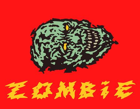 Creepy green zombie head. Vector illustration. Genre of horror.