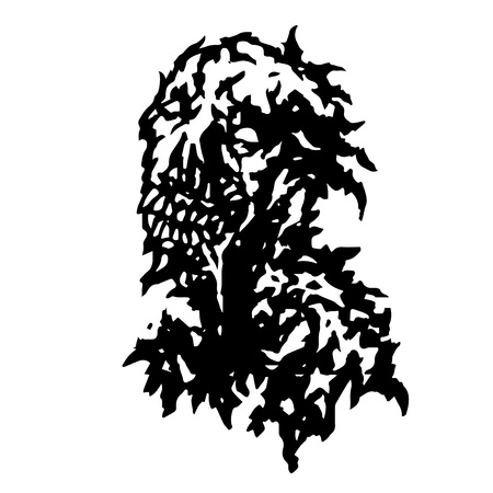 daemon: Zombie flowing from the mouth with saliva. Vector illustration. Black and white colors. Horror genre. Illustration