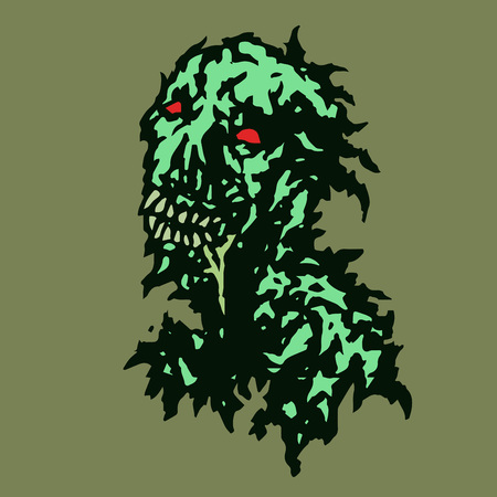 daemon: Stripped zombie with saliva flowing from his mouth. Vector illustration. Genre of horror. Illustration