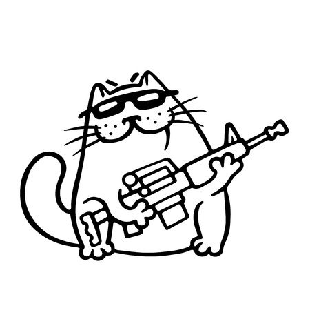 Mafia fighting cat with a submachine gun is ready for war. Cute mafiosi cartoon character. Vector Illustration. White color background. Illustration