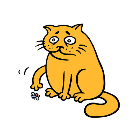 Orange fat cat is lonely. A dead fly on the floor. Bad day. No-one wants to play with me today. Vector Illustration. Cute emoticon character.