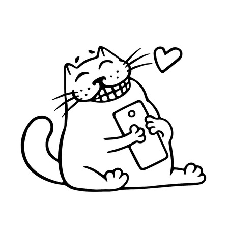 Cute cat loves his gift smartphone. SMS came from a loved one. Vector Illustration. Cartoon character. Illustration