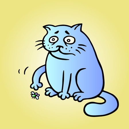 Cat wants to play and the fly is tired and has died. Play with me. Vector Illustration. Cute fat pet character.