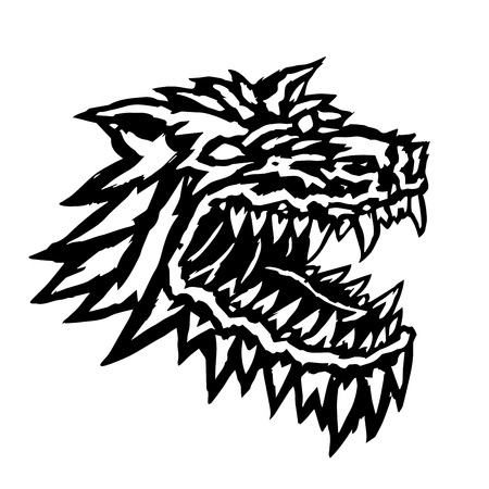 Muzzle of a terrible werewolf monster with a gaping mouth full of fangs. Horror original demon character tattoo. Vector illustration.