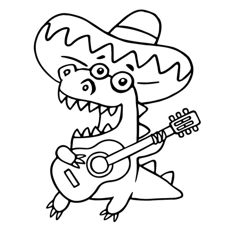 Mexican guitarist black and white dinosaur. Vector illustration. Funny cartoon musician isolated character.