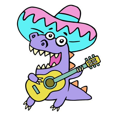 Mexican colorful guitarist dinosaur. Vector illustration. Funny cartoon musician isolated character on white background.
