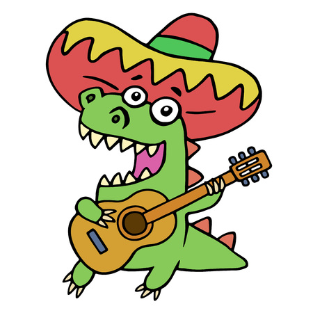 Green dragon in Mexican hat and with guitar on white background. Vector illustration. Funny cartoon musician isolated character.