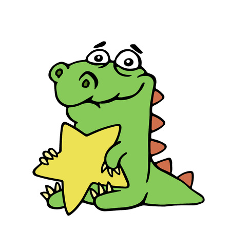 Funny cheerful dragon holds in his paws a large gold star on white background. Cute cartoon isolated character. Illustration